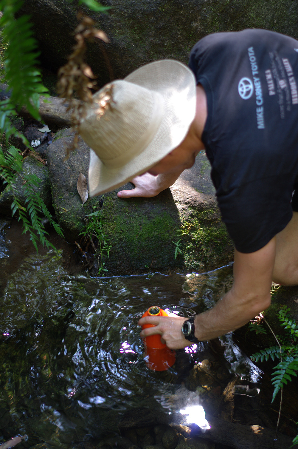 Collecting drinking water from a stream