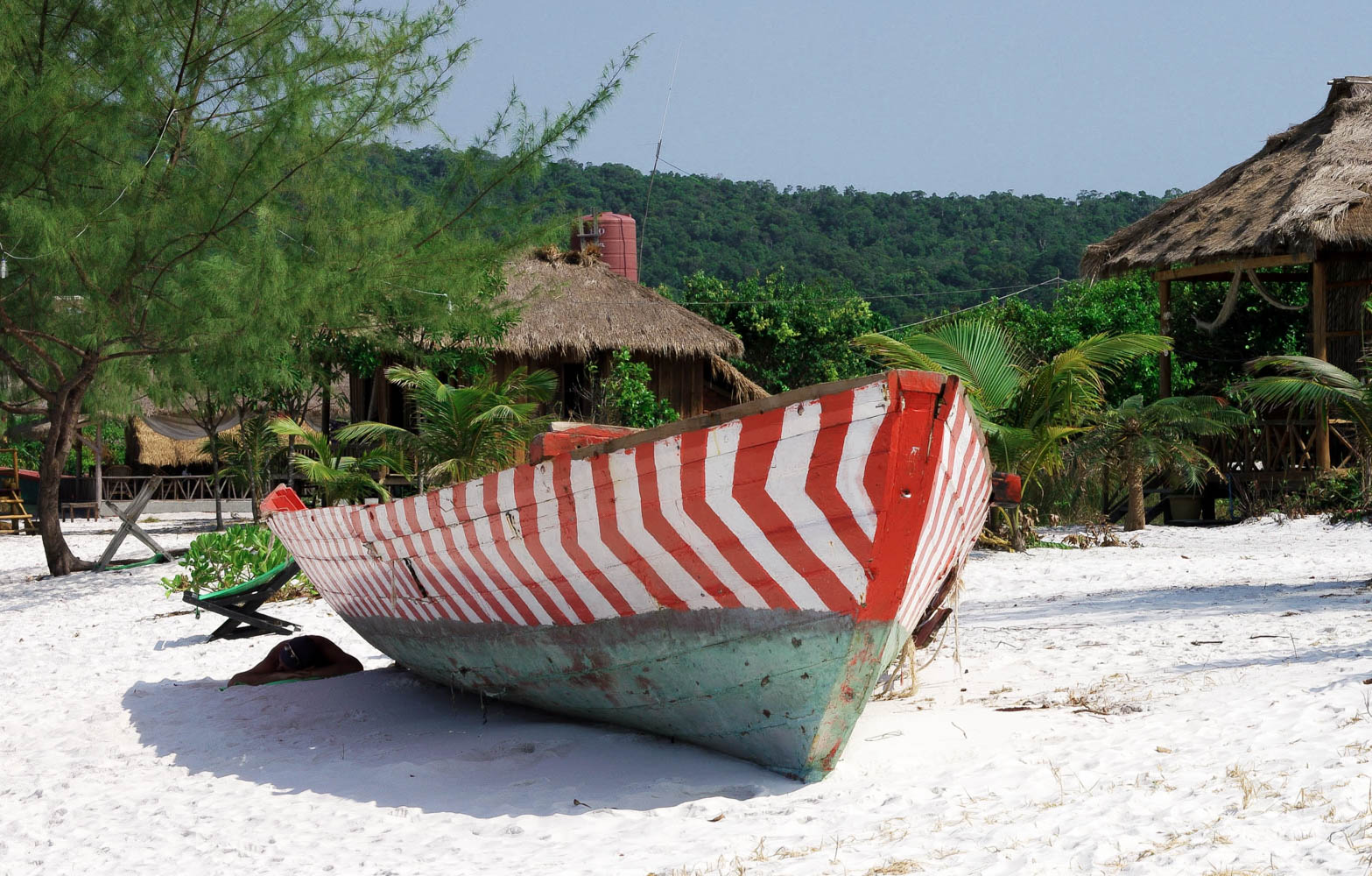 Boat and resort