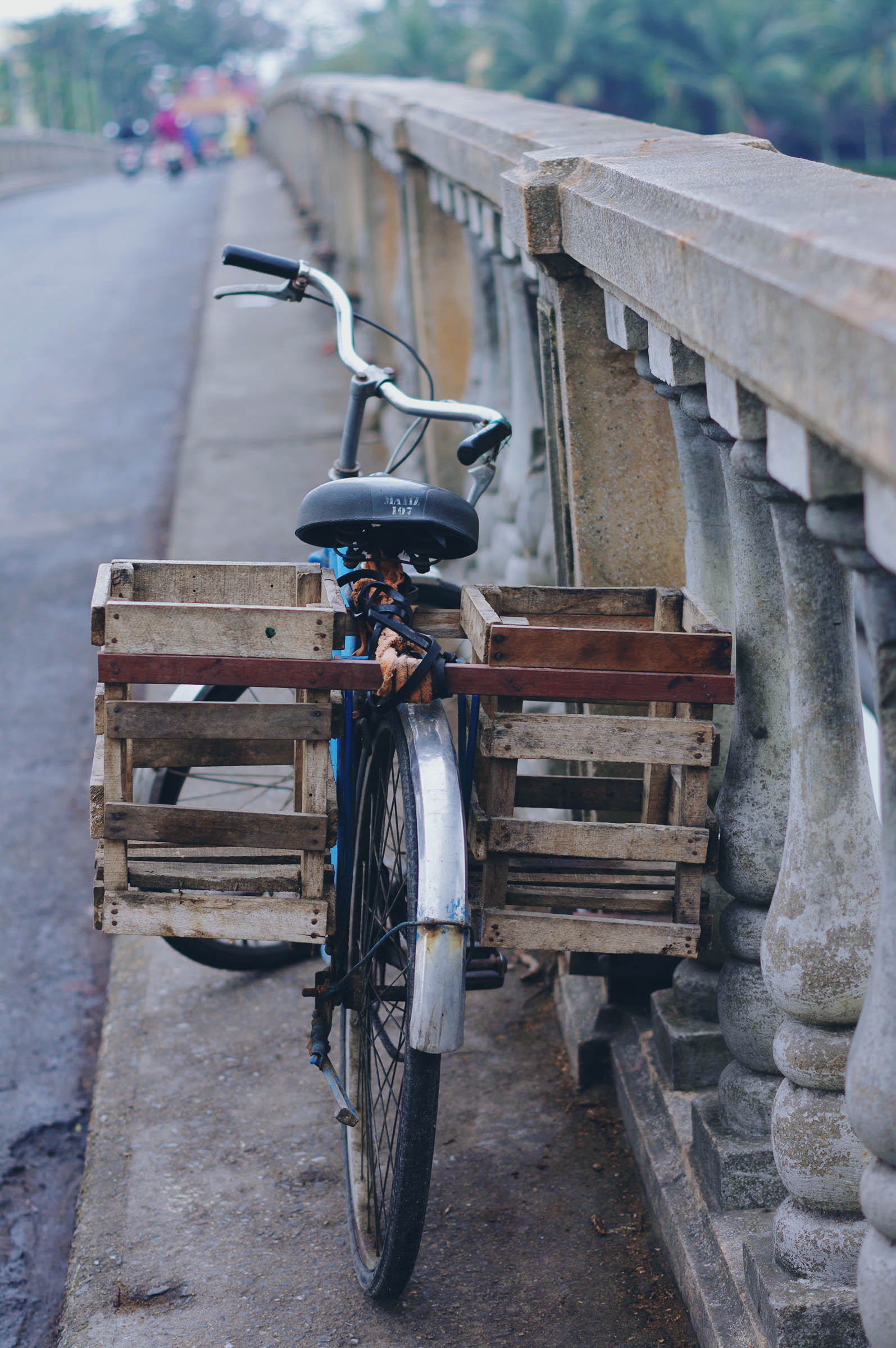 Old school bicycle on bridge