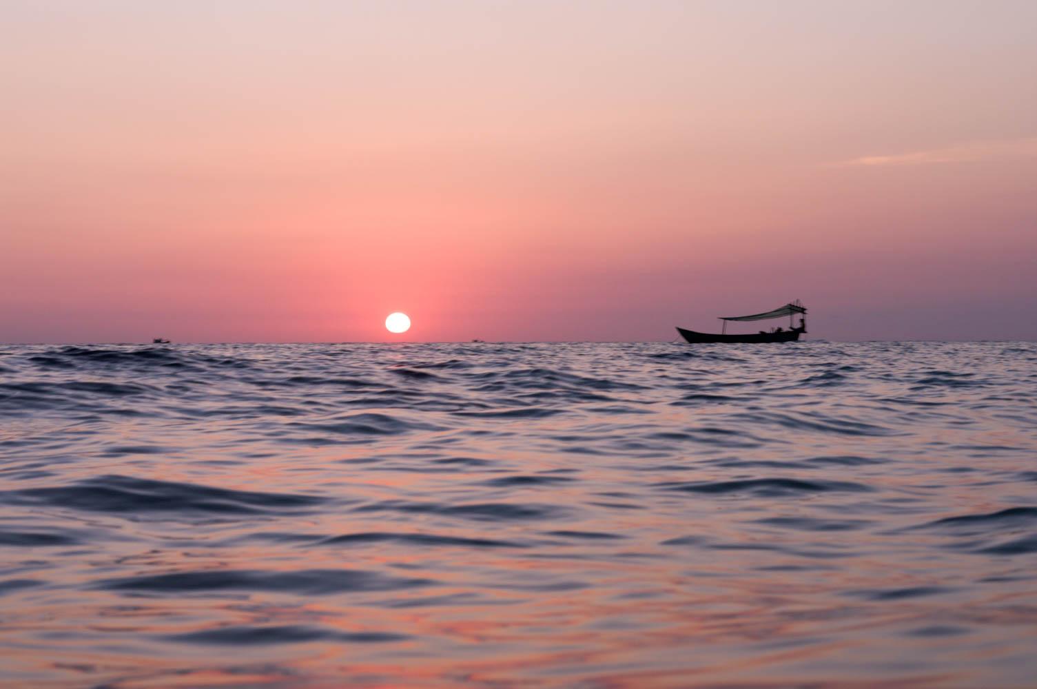Sunset over ocean at sunset beach, Koh Rong Samloem, Cambodia