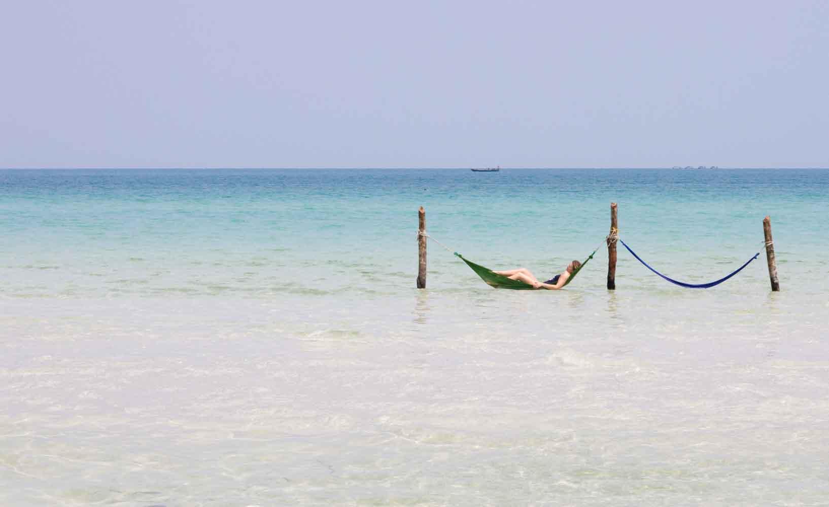 Hammocks in ocean, Koh Rong Samloem