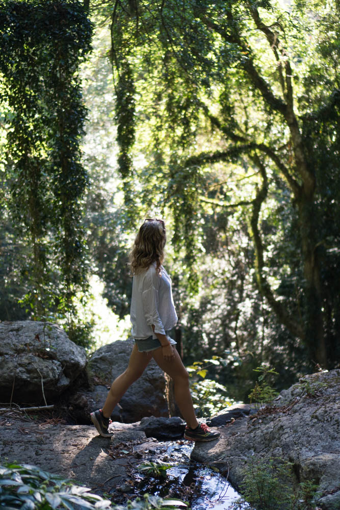 Girl walking Cascade Circuit at Bunya Mountains