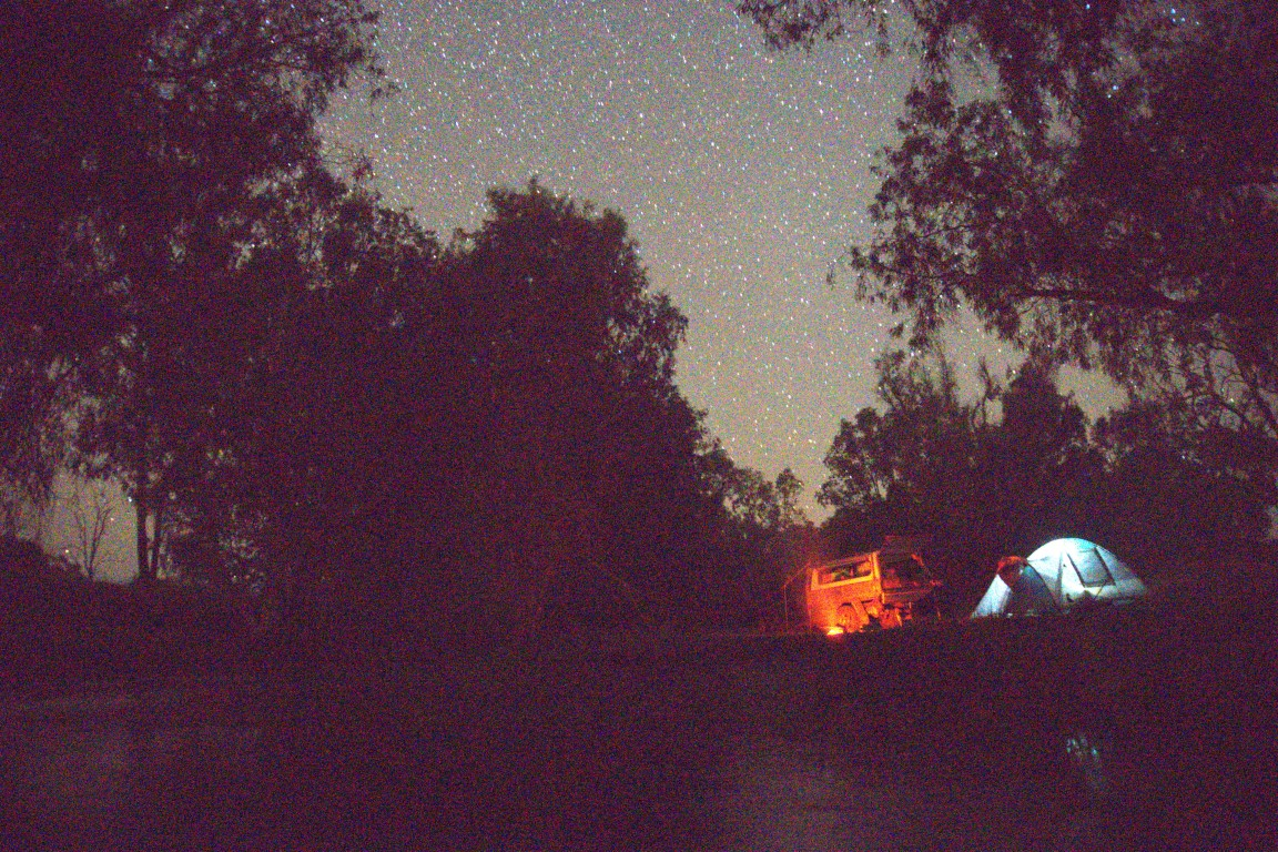 Camping under the star with a fire at the Valley of Lagoons