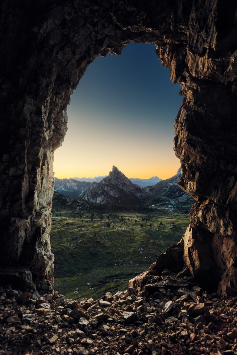 Cave entry overlooking the mountains