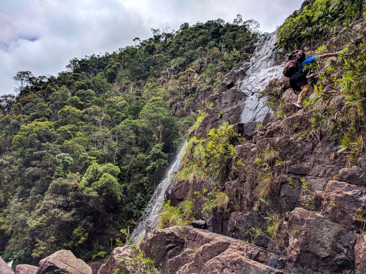 Climbing down Crystal Falls