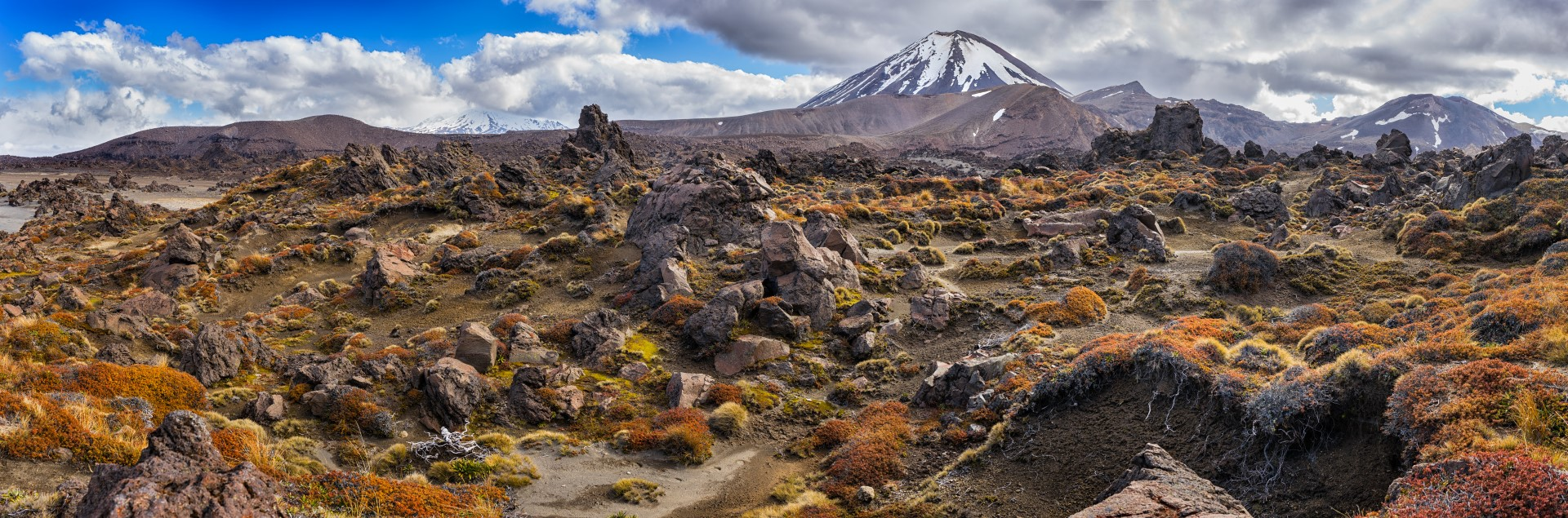 Panoramic view of Tongariro national park and Mt Ngauruhoe