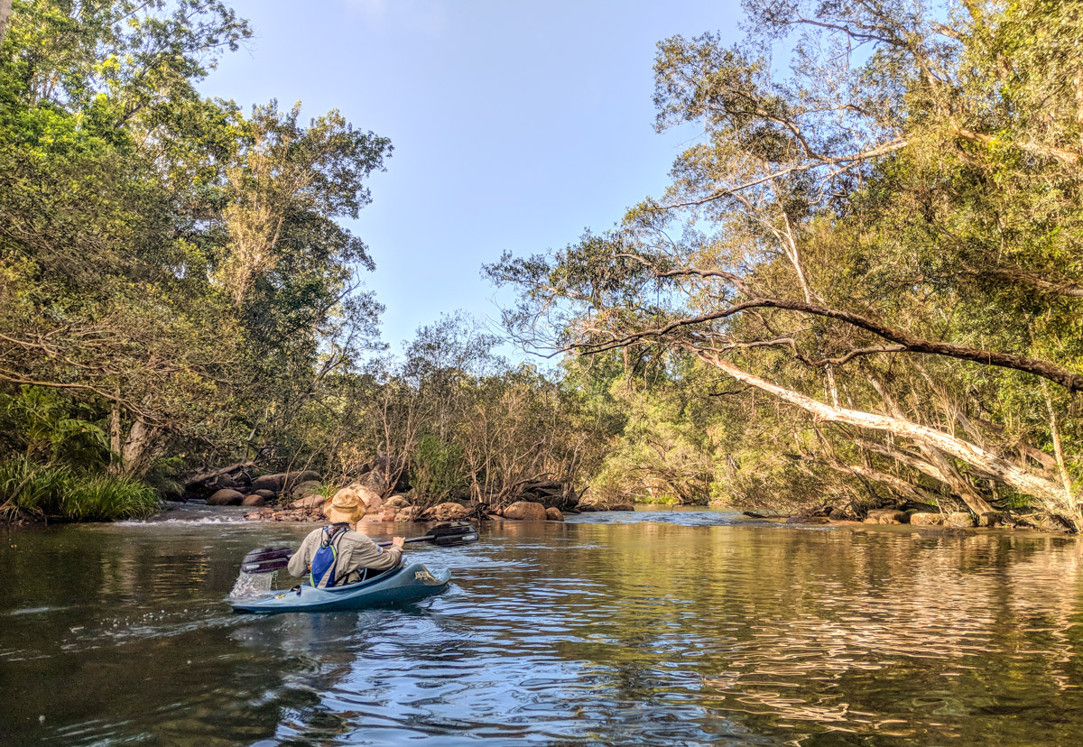 Kayaking down Broadwater Creek