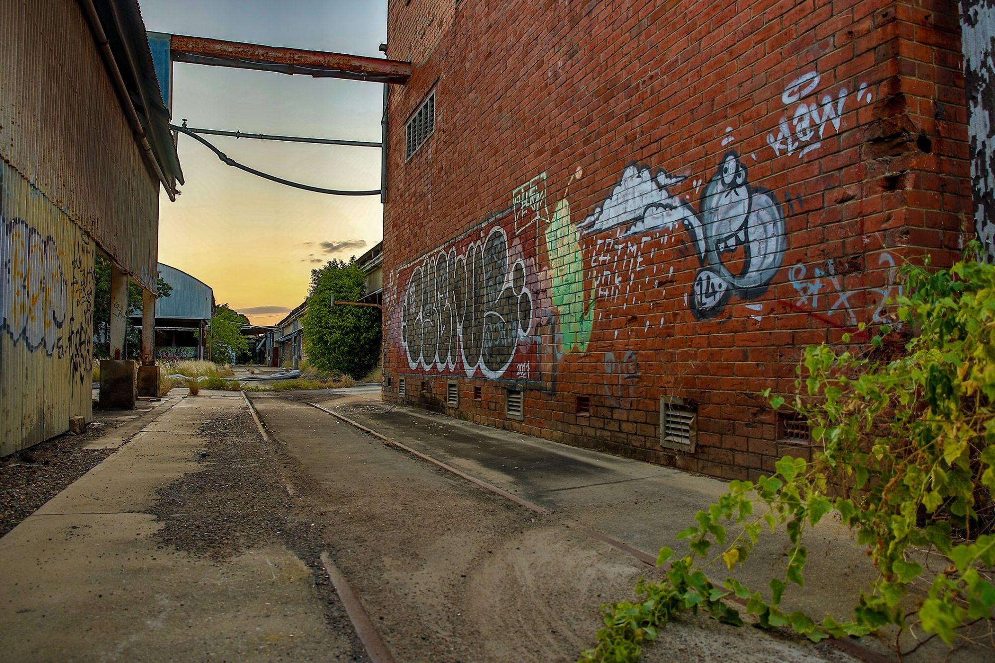 railyards buildings graffiti townsville