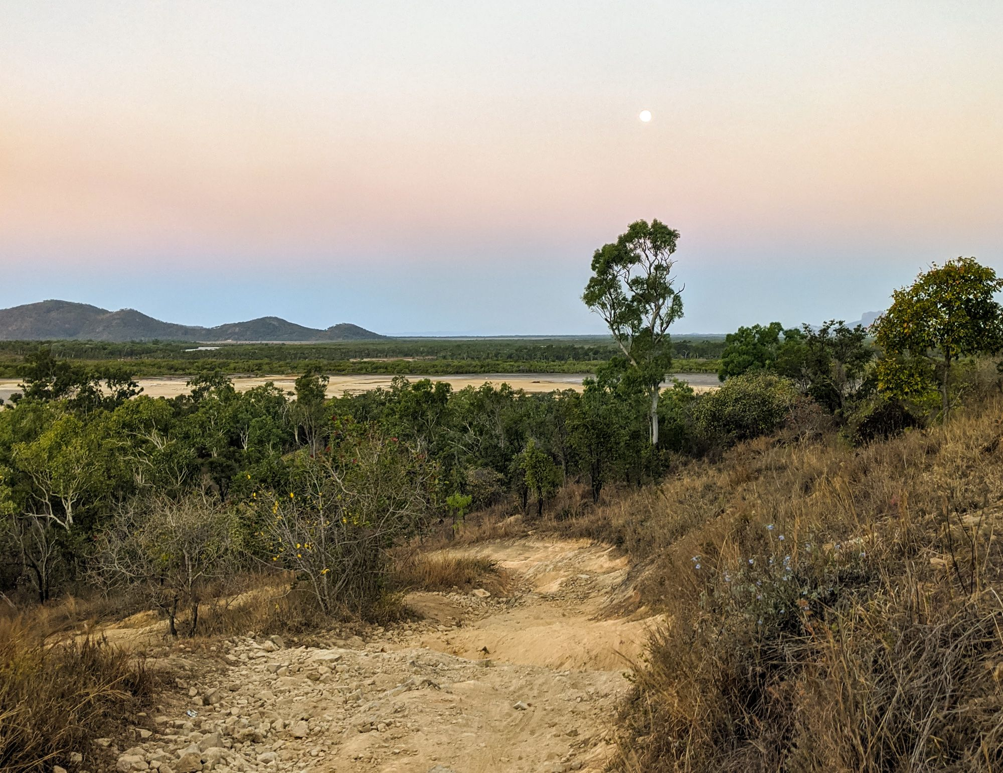 mt low bushland beach moon