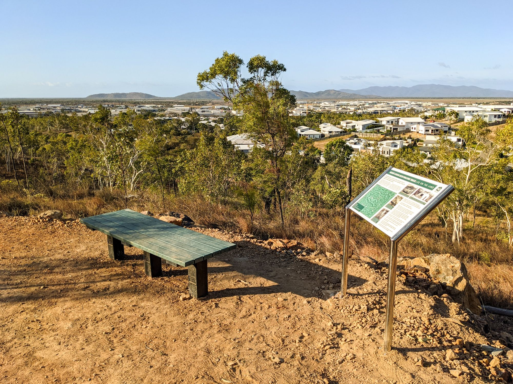 mt lousia track bench signage