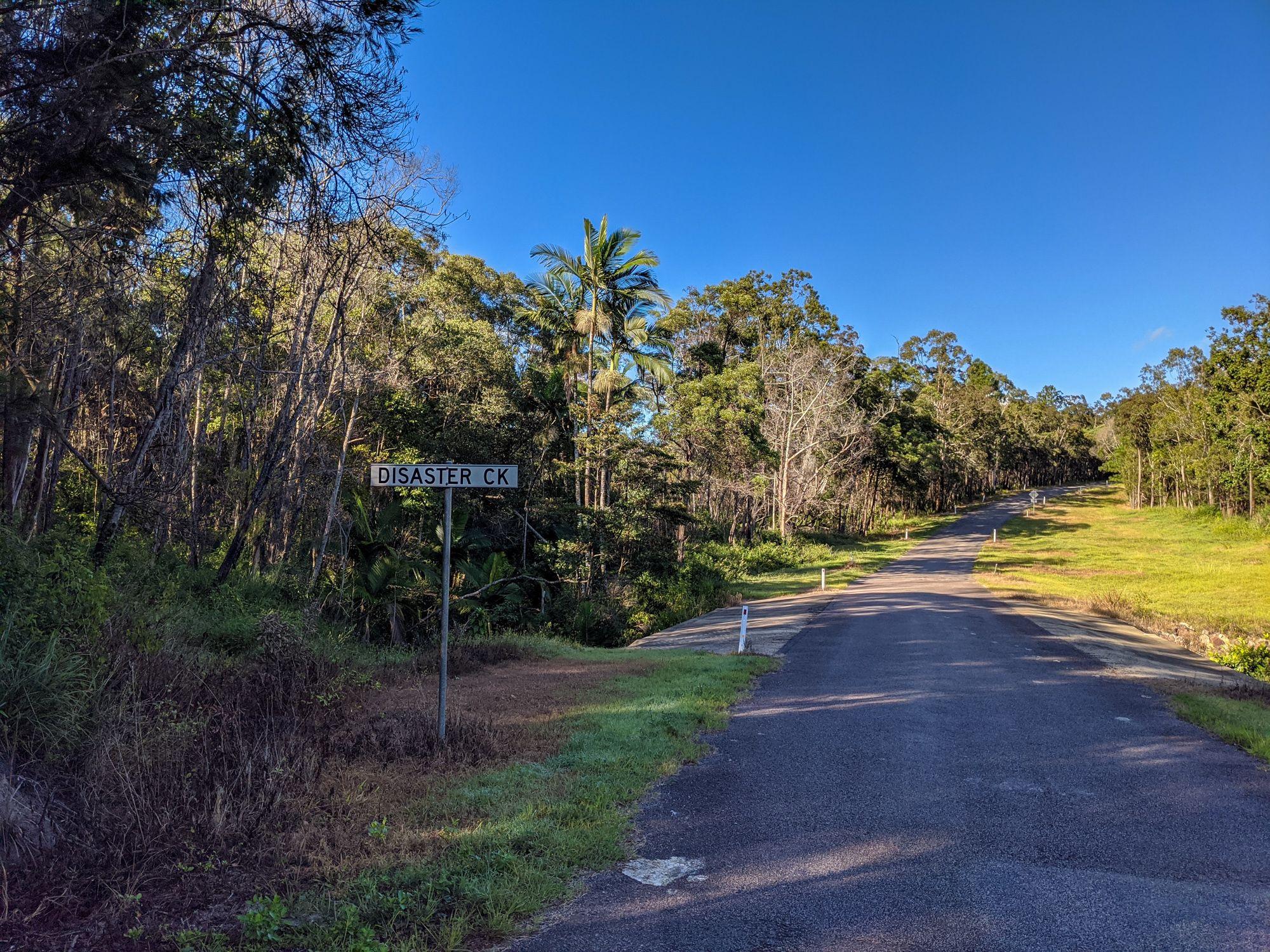 disaster creek road sign