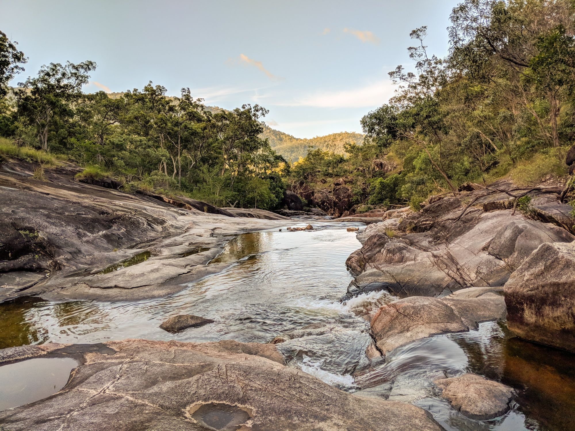 Three natural rock slides near Townsville